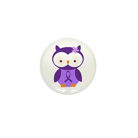 Purple Ribbon Awareness Owl Mini Button (10 pack)