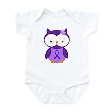 Purple Ribbon Awareness Owl Infant Bodysuit