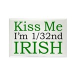 Kiss Me I'm 1/32nd Irish Rectangle Magnet