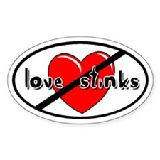 Love Stinks Anti-Valentine Oval Decal