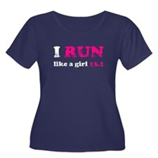 I run like a girl 13.1 Women's Plus Size Scoop Nec