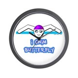 I Swim Butterfly Wall Clock