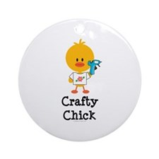 Crafty Chick Ornament (Round)