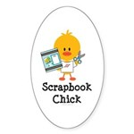 Scrapbook Chick Sticker (Oval 10 pk)