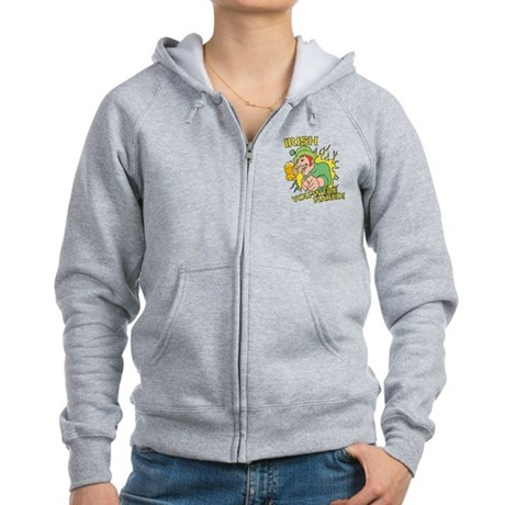 Irish You Were Naked Womens Zip Hoodie