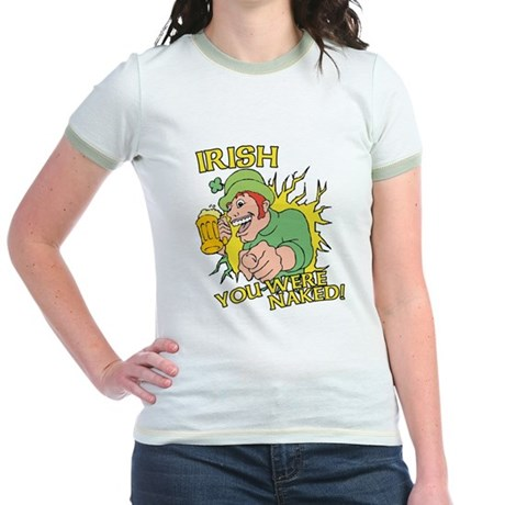 Irish You Were Naked Jr Ringer T-Shirt