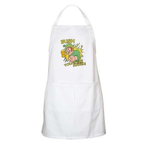 Irish You Were Naked Apron