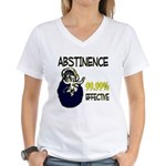 Abstinence: 99.99% Effective Women's V-Neck T-Shir
