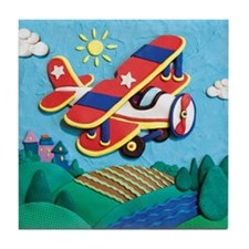 Biplane Aircraft Tile Coaster