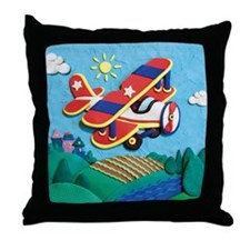 Biplane Aircraft Throw Pillow