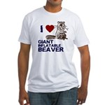 I (HEART) GIANT INFLATABLE BEAVER Fitted T-Shirt