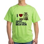 I (HEART) GIANT INFLATABLE BEAVER Green T-Shirt