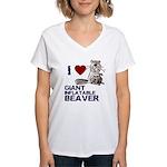 I (HEART) GIANT INFLATABLE BEAVER Women's V-Neck T
