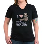 I (HEART) GIANT INFLATABLE BEAVER Women's V-Neck D