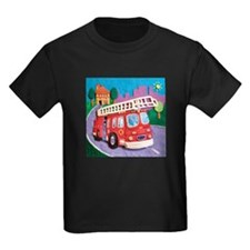 Fire Truck Kids Dark T-Shirt