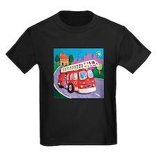 Fire Truck Kids Dark T-Shirt