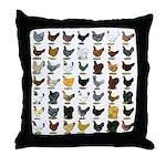 49 Hen Breeds Throw Pillow