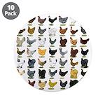"""49 Hen Breeds 3.5"""" Button (10 pack)"""