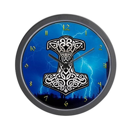 Hammer and lightning Wall Clock