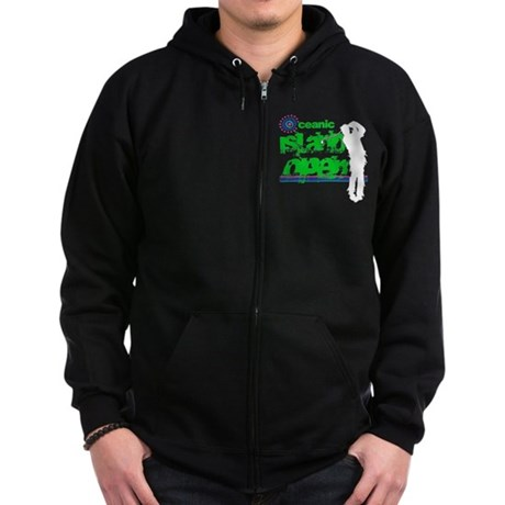 Oceanic Island Open Black Zip Dark Hoodie