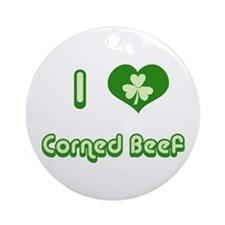 I Love Corned Beef Ornament (Round)