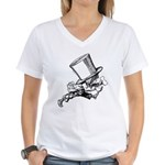 Mad Hatter Striding Right Women's V-Neck T-Shirt