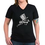 Mad Hatter Striding Right Women's V-Neck Dark T-Sh