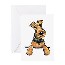 Welsh Terrier Paws Up Greeting Card