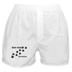 Bad Dog Paws bury bones Boxer Shorts