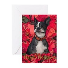 Boston Terrier Christmas Poinsettia Greeting Cards
