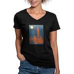 Philadelphia Baseball Women's V-Neck Dark T-Shirt