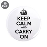 "Keep Calm & Carry On 3.5"" Button (10 pack)"