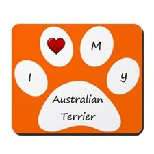 Orange I Love My Australian Terrier Mouse Pad