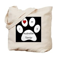 Black I Love My Australian Terrier Tote Bag