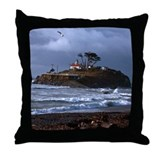 Battery Point Lighthouse & Gull Throw Pillow