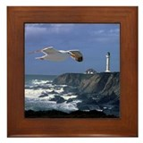 Lighthouse & Seagull Framed Tile