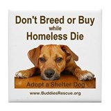 Adopt a Shelter Dog Tile Coaster
