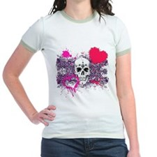 Biker Girl Pink Hearts and Skulls T