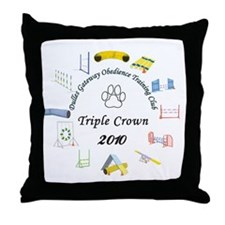 Triple Crown white Throw Pillow