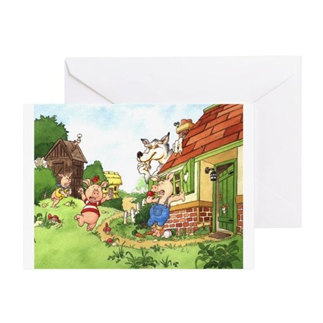 The Pigs and the Wolf Greeting Card