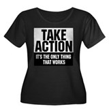 Take Action Women's Plus Size Scoop Neck Dark T-Sh