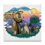 St. Francis #2 / Two Labradors Tile Coaster
