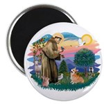 St Francis #2 / Welsh Corgi (P-7b) Magnet