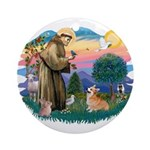 St Francis #2 / Welsh Corgi (P-7b) Ornament (Round