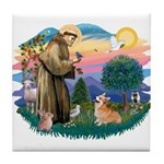 St Francis #2 / Welsh Corgi (P-7b) Tile Coaster