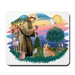 St Francis #2 / Welsh Corgi (P-7b) Mousepad