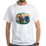 St Francis #2 / Welsh Corgi (P-7b) White T-Shirt