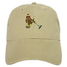Sock Monkey Olympics Curling Baseball Cap