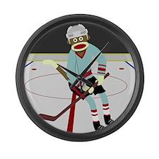 Sock Monkey Ice Hockey Player Large Wall Clock