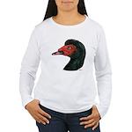 Muscovy Duck Head Black Women's Long Sleeve T-Shir
